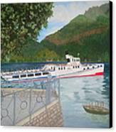 Lago Di Como Ferry Canvas Print by Linda Scott