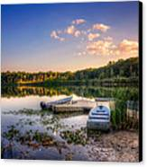 Lake View Row Boat Canvas Print by Jenny Ellen Photography