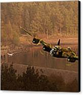 Lancaster Over The Dams Canvas Print