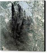 Landsat Image Of Baghdad Showing Dark Canvas Print by Everett