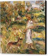 Landscape With A Woman In Blue Canvas Print by Pierre Auguste Renoir