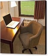 Laptop On A Hotel Room Desk Canvas Print by Thom Gourley/Flatbread Images, LLC