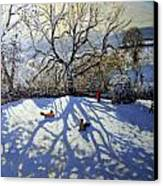 Large Tree And Tobogganers Canvas Print by Andrew Macara