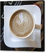 Latte With A Leaf Design Canvas Print