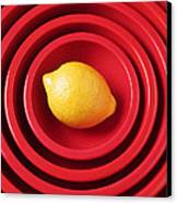 Lemon In Red Bowls Canvas Print by Garry Gay