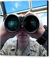 Lieutenant Uses Binoculars To Scan Canvas Print by Stocktrek Images