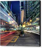 Light Trails On Street At Night Canvas Print