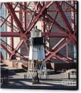 Lighthouse Atop Fort Point Next To The San Francisco Golden Gate Bridge - 5d19001 Canvas Print
