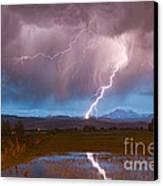 Lightning Striking Longs Peak Foothills 2 Canvas Print by James BO  Insogna