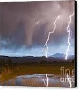 Lightning Striking Longs Peak Foothills Canvas Print by James BO  Insogna