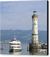 Lindau Harbor With Ship Bavaria Germany Canvas Print by Matthias Hauser