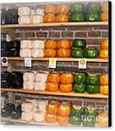 Little Cheeses On A Shelf In Amsterdam Canvas Print