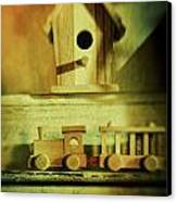 Little Wooden Train On Shelf Canvas Print by Sandra Cunningham