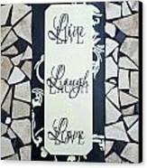Live-laugh-love Tile Canvas Print by Cynthia Amaral