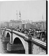 London Bridge Showing Carriages - Coaches And Pedestrian Traffic - C 1900 Canvas Print