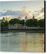 London Cityscape Sunrise Canvas Print by Donald Davis
