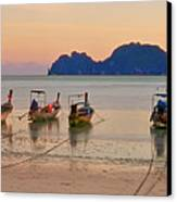 Longtail Boats On Beach At Sunset Canvas Print