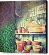Lots Of Different Size Pots In The Shed Canvas Print by Sandra Cunningham