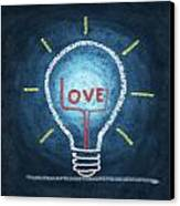Love Word In Light Bulb Canvas Print