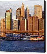 Lower Manhattan And The Brooklyn Bridge Canvas Print by Jeremy Woodhouse