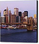 Lower Manhattan Skyline And Brooklyn Bridge At Dawn Canvas Print
