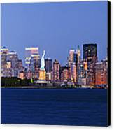 Lower Manhattan Skyline At Dusk Canvas Print by Jeremy Woodhouse