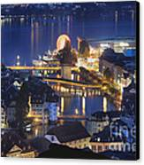 Lucerne At Night From Above Canvas Print by George Oze