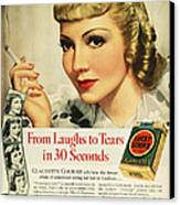 Luckys Cigarette Ad, 1938 Canvas Print