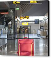 Luggage Sitting Alone In An Airport Terminal Canvas Print