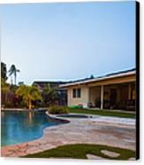 Luxury Backyard Pool And Lanai Canvas Print