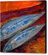 Mackerels In The Sunset Canvas Print by Aquira Kusume