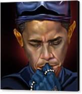 Mad Men Series 1 Of 6 - President Obama The Dark Knight Canvas Print by Reggie Duffie