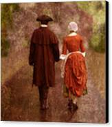 Man And Woman In 18th Century Clothing Walking Canvas Print