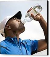 Man Drinking Bottled Water Canvas Print by