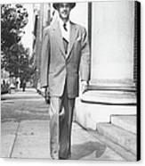 Man Walking On Sidewalk, (b&w) Canvas Print by George Marks
