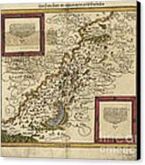Map Of Palestine, 1588 Canvas Print