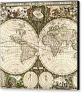 Map Of The World, 1660 Canvas Print