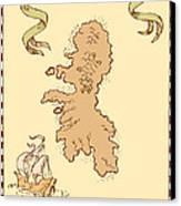 Map Treasure Island Tall Ship Canvas Print