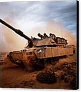 Marines Roll Down A Dirt Road Canvas Print by Stocktrek Images
