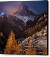 Matterhorn With Star Trail Canvas Print