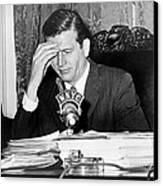 Mayor John Lindsay, Speaking Into Wnyc Canvas Print by Everett