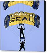 Members Of The U.s. Navy Parachute Canvas Print by Stocktrek Images