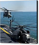 Mh-53e Sea Dragon Helicopters Take Canvas Print by Stocktrek Images