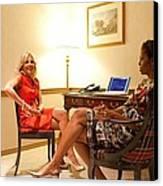 Michelle Obama And Dr. Jill Biden Wait Canvas Print by Everett