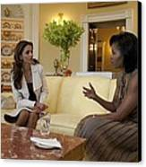 Michelle Obama And Queen Rania Canvas Print by Everett