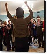 Michelle Obama Celebrates With Guests Canvas Print by Everett