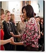 Michelle Obama Greets Actress Hilary Canvas Print by Everett