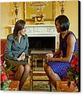 Michelle Obama Greets Mrs. Margarita Canvas Print by Everett