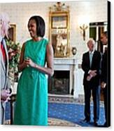 Michelle Obama Laughs With National Canvas Print