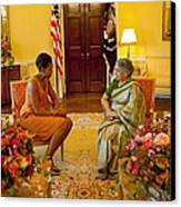 Michelle Obama Meets With Mrs Canvas Print